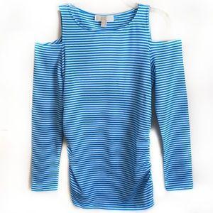 4920edc7965e3 MICHAEL Michael Kors Tops - Michael KORS Striped Cold Shoulder Side Zip Top  M